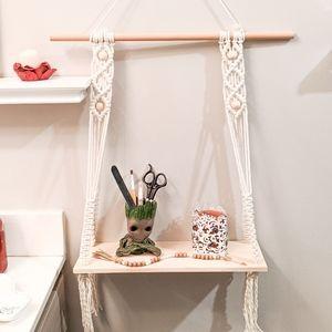 100% Cotton Macrame Bohemian Hanging Shelf